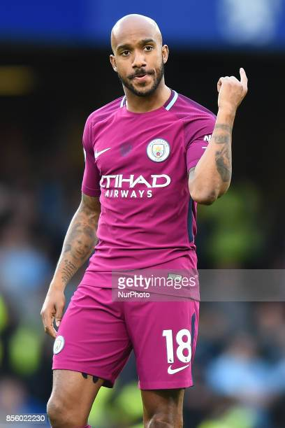 Manchester City midfielder Fabian Delph during the Premier League match between Chelsea and Manchester City at Stamford Bridge London England on 30...