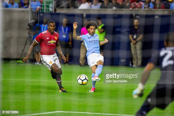 Manchester City midfielder Leroy Sane kicks the ball but comes up short from scoring in the second half during the Premier Soccer League game between...