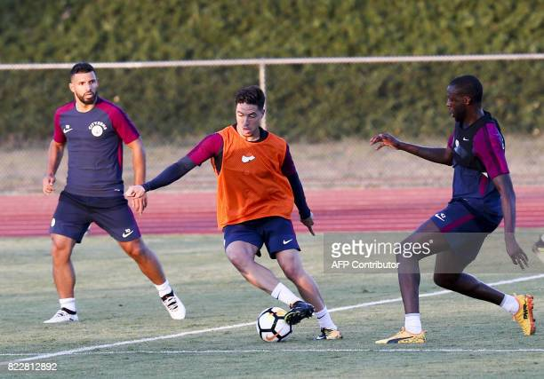 Manchester City midfielder Samir Nasri participates in a training session at the StubHub Center on July 25 2017 in Carson California / AFP PHOTO /...