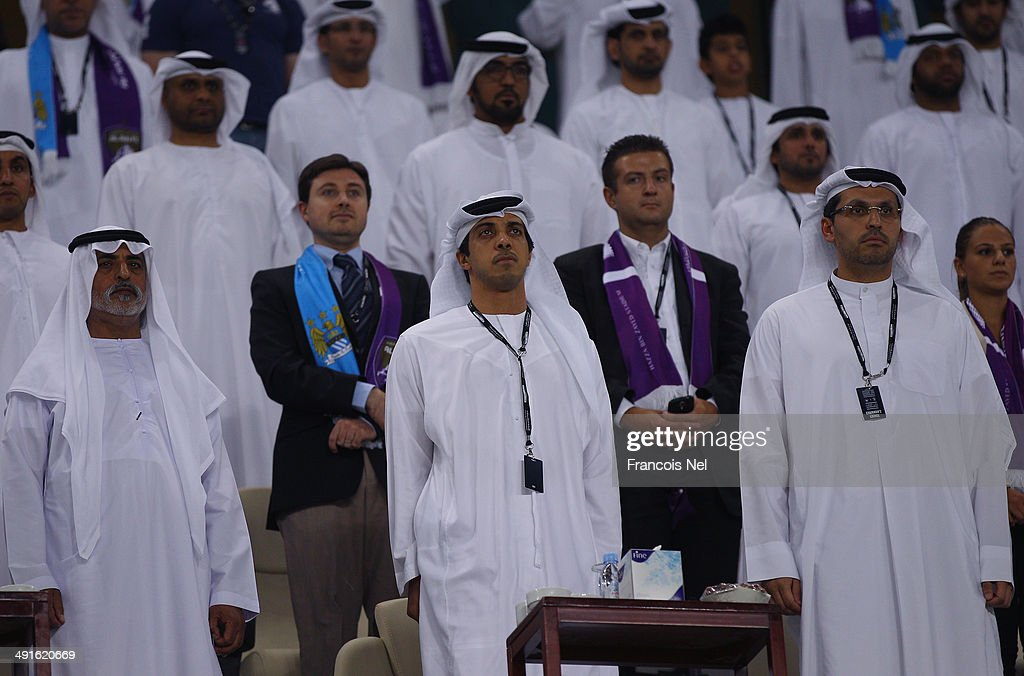 Manchester City owner Sheikh Mansour bin Zayed Al Nahyan (C) are pictured during the friendly match between Al Ain and Manchester at Hazza bin Zayed Stadium on May 15, 2014 in Al Ain, United Arab Emirates.