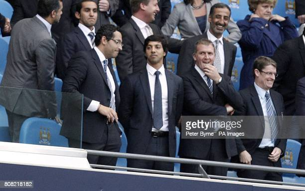 Manchester City owner Sheikh Mansour bin Zayed bin Sultan Al Nahyan in the stands prior to kickoff