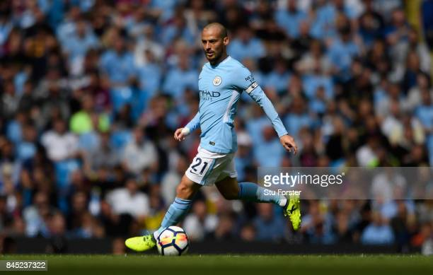 Manchester City player David Silva in action during the Premier League match between Manchester City and Liverpool at Etihad Stadium on September 9...