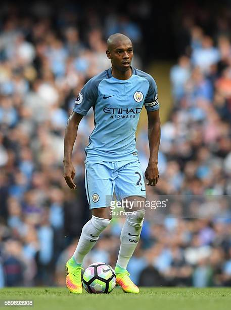 Manchester City player Fernandinho in action during the Premier League match between Manchester City and Sunderland at Etihad Stadium on August 13...