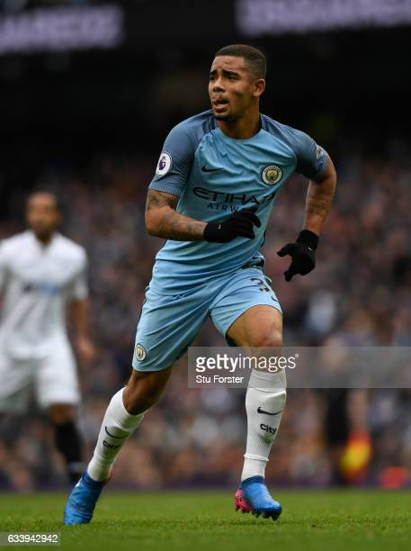 Manchester City player Gabriel Jesus in action during the Premier League match between Manchester City and Swansea City at Etihad Stadium on February...