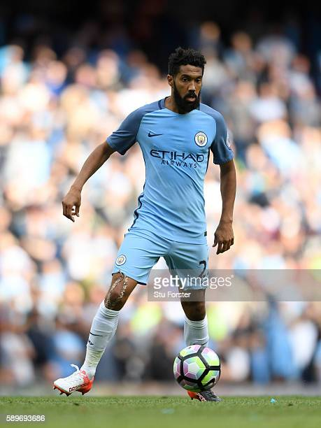 Manchester City player Gael Clichy in action during the Premier League match between Manchester City and Sunderland at Etihad Stadium on August 13...
