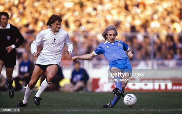 Manchester City player Gerry Gow holds off Spurs player Glenn Hoddle during the 1981 FA Cup Final Replay between Tottenham Hotspur and Manchester...