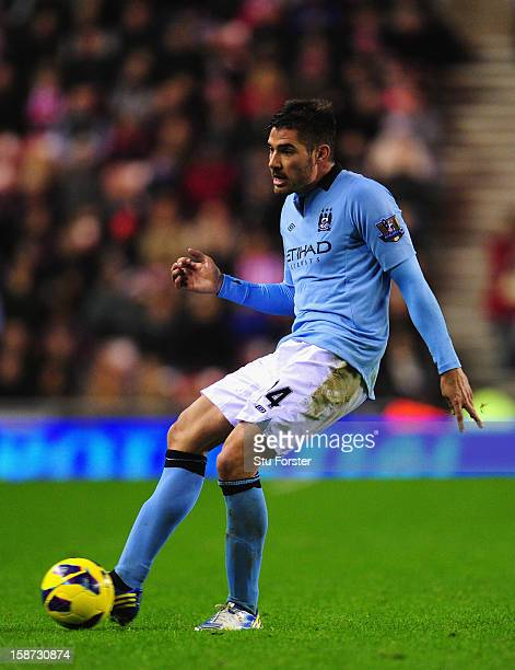 Manchester City player Javier Garcia in action during the Barclays Premier League match between Sunderland and Manchester City at Stadium of Light on...