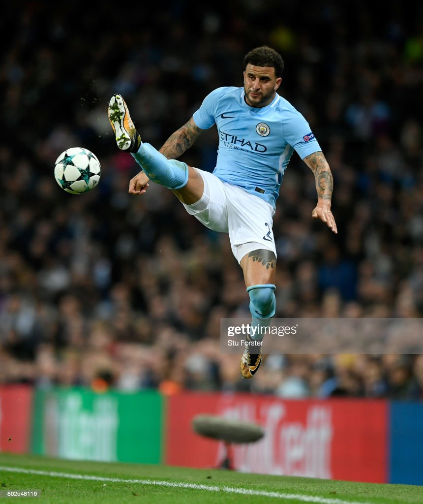 Manchester City player Kyle Walker in action during the UEFA Champions League group F match between Manchester City and SSC Napoli at Etihad Stadium on October 17, 2017 in Manchester, United Kingdom.