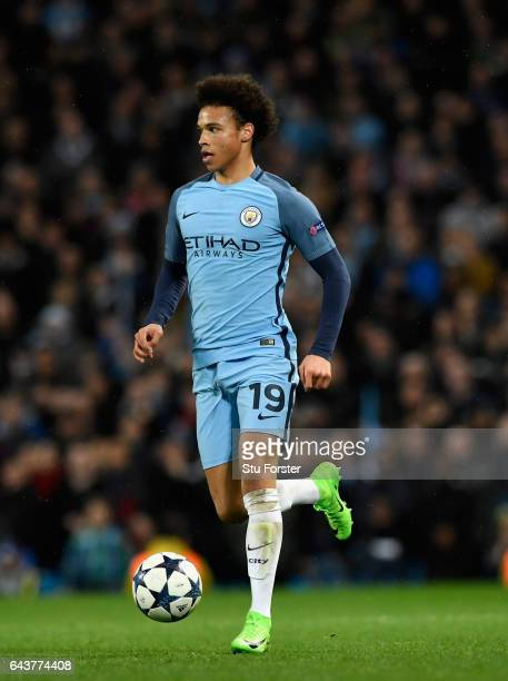 Manchester City player Leroy Sane in action during the UEFA Champions League Round of 16 first leg match between Manchester City FC and AS Monaco at...