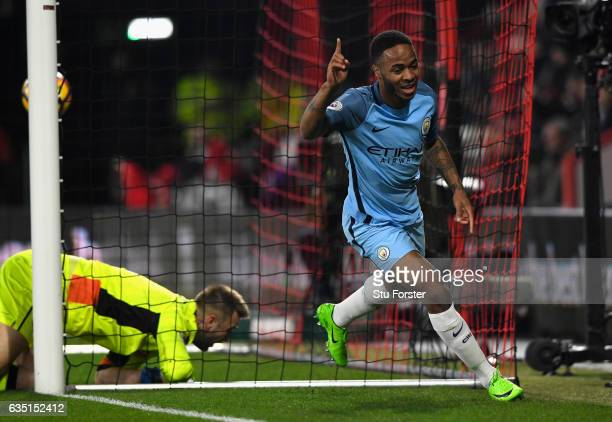 Manchester City player Raheem Sterling celebrates his opening goal during the Premier League match between AFC Bournemouth and Manchester City at...