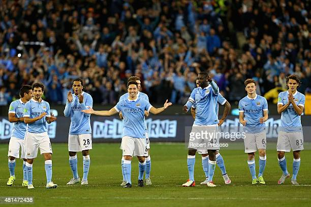 Manchester City players celebrate a win during the International Champions Cup friendly match between Manchester City and AS Roma at the Melbourne...
