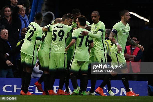 Manchester City players celebrate their first goal to equalise 11 scored by Manchester City's French striker David Faupala during the English FA Cup...