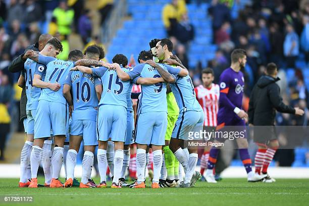 Manchester City players gather after the full time whistle during the Premier League match between Manchester City and Southampton at Etihad Stadium...