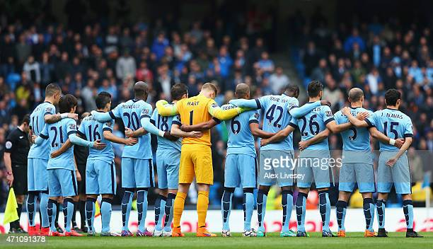 Manchester City players mark the upcoming anniversary of the Bradford City fire disaster with a minutes silence prior to the the Barclays Premier...
