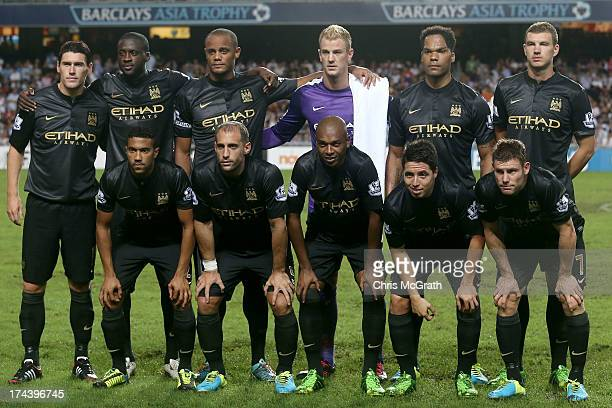 Manchester City players pose for a team photo during the Barclays Asia Trophy Semi Final match between Manchester City and South China at Hong Kong...