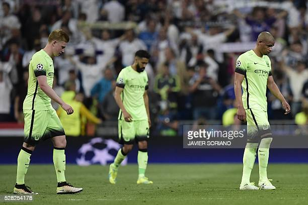 Manchester City players walk at the end the UEFA Champions League semifinal second leg football match Real Madrid CF vs Manchester City FC at the...