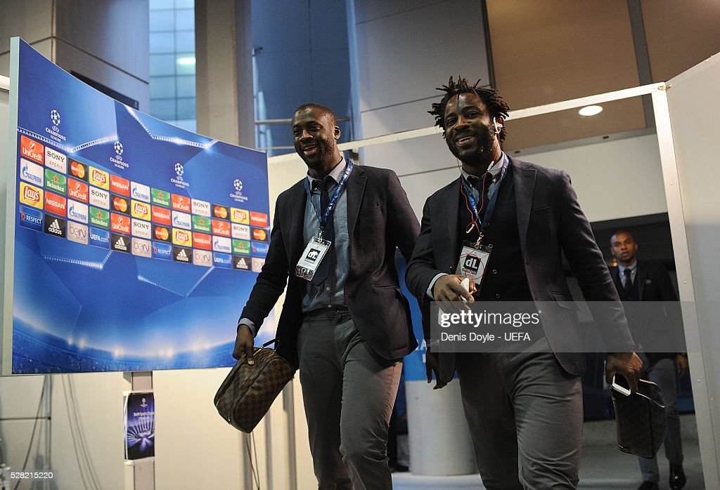 Manchester City players Yaya Toure and Wilfred Bony arrive at the Santiago Bernabeu stadium ahead of the UEFA Champions League Semi Final second leg match between Real Madrid and Manchester City FC at Estadio Santiago Bernabeu on May 4, 2016 in Madrid, Spain.