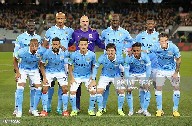 Manchester City pose during the International Champions Cup friendly match between Manchester City and AS Roma at the Melbourne Cricket Ground on...