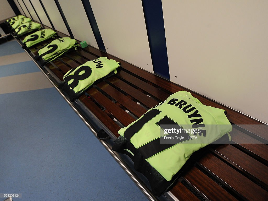 Manchester City shirts are laid out in their dressing room ahead of the UEFA Champions League Semi Final second leg match between Real Madrid and Manchester City FC at Estadio Santiago Bernabeu on May 4, 2016 in Madrid, Spain.