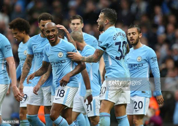 Manchester City team celebrate Nicolas Otamendi's goal the second for their team during the Premier League match between Manchester City and Burnley...