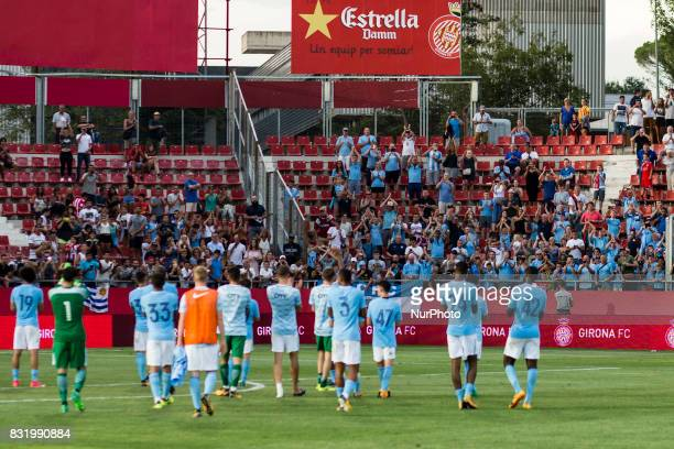 Manchester City team greetings to his fans during the Costa Brava Trophy match between Girona FC and Manchester City at Estadi de Montilivi on August...