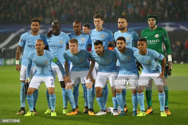 Manchester City team group during the UEFA Champions League group F match between Feyenoord and Manchester City at Feijenoord Stadion on September 13...
