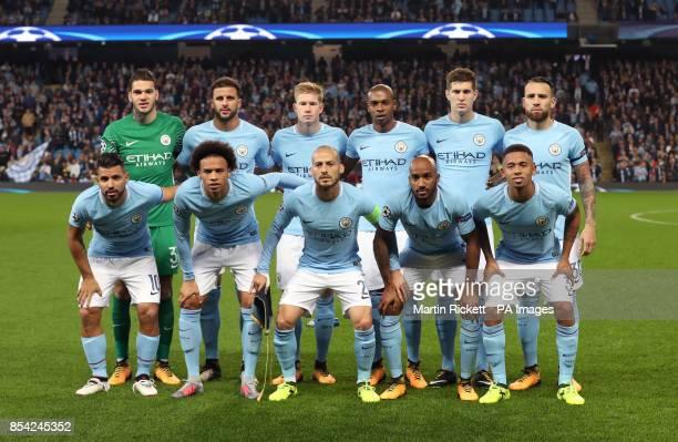 Manchester City team group goalkeeper Ederson Kyle Walker Kevin De Bruyne Fernandinho John Stones Nicolas Otamendi Sergio Aguero Leroy Sane David...