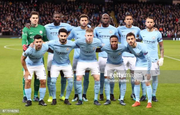 Manchester City team group goalkeeper Ederson Yaya Toure Kyle Walker Eliaquim Mangala Danilo and Nicolas Otamendi Sergio Aguero Ilkay Gundogan Kevin...