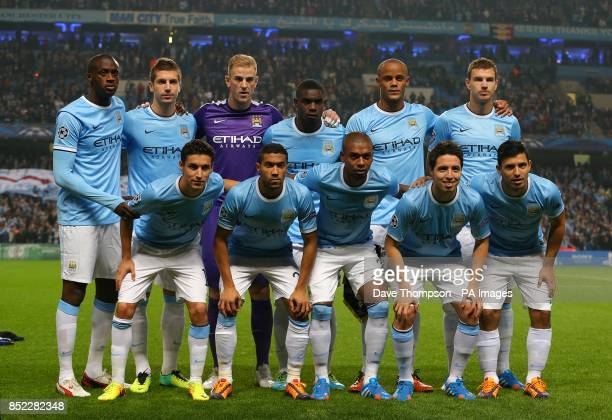 Manchester City team group Yaya Toure Matija Nastasic Joe Hart Micah Richards Vincent Kompany Edin Dzeko Jesus Navas Gael Clichy Fernandinho Samir...