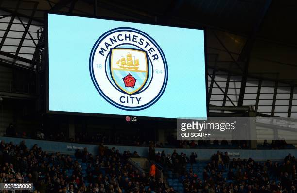 Manchester City unveil their new badge design before the English Premier League football match between Manchester City and Sunderland at The Etihad...