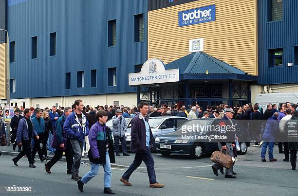 Manchester City v Manchester United City fans outside the main entrance to Maine Road stadium
