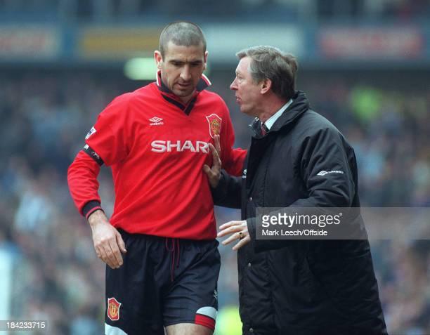 Manchester City v Manchester United United manager Alex Ferguson talks to Eric Cantona