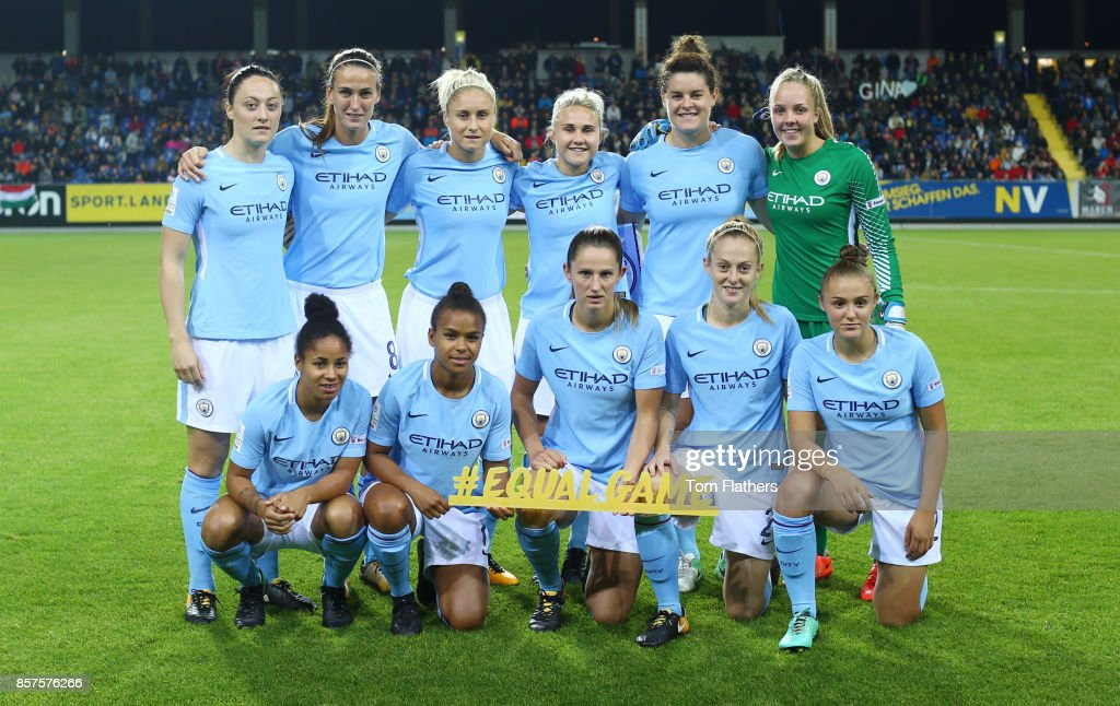 Manchester City Women before of the Champions League fixture against St. Polten on October 4, 2017 in St. Poelten, Lower Austria.