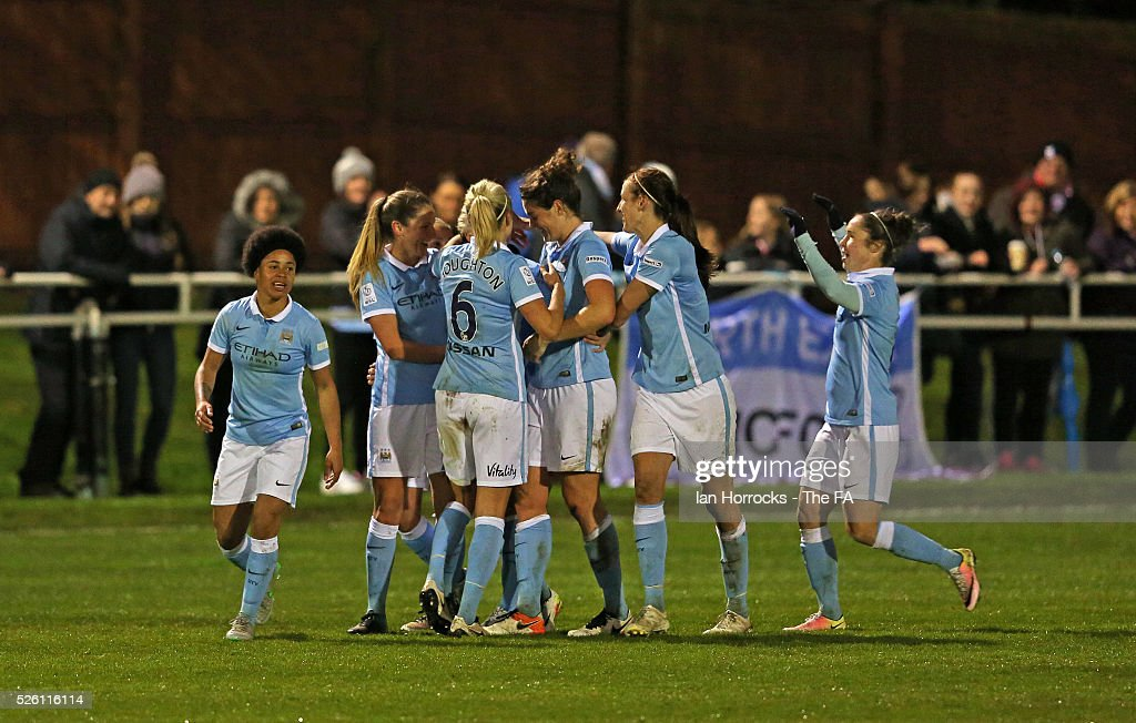 Manchester City Women celebrate the second goal during the WSL 1 match between Sunderland AFC Ladies and Manchester City Women at The Hetton Center on April 29, 2016 in Hetton, England.