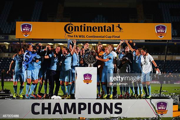 Manchester City Women celebrate winning the FA WSL Continental Cup Final between Arsenal Ladies and Manchester City Ladies at Adams Park on October...