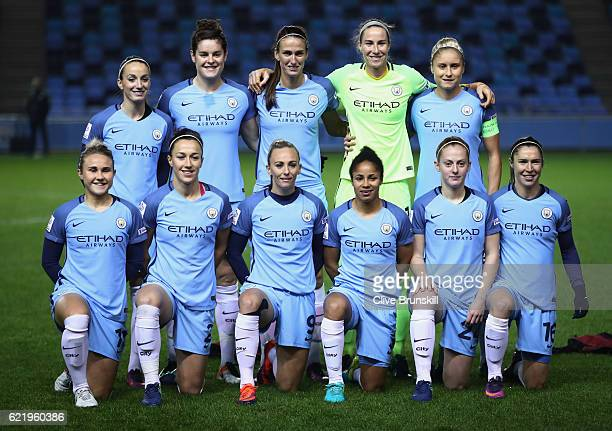 Manchester City Women line up prior to the UEFA Women's Champions League round of 16 first leg match between Manchester City Women and Brondby IF...