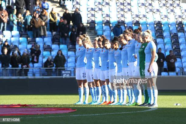 Manchester City Women observe a minutes silence on Remembrance Sunday before the FA WSL match between Manchester City Women and Bristol City Women at...