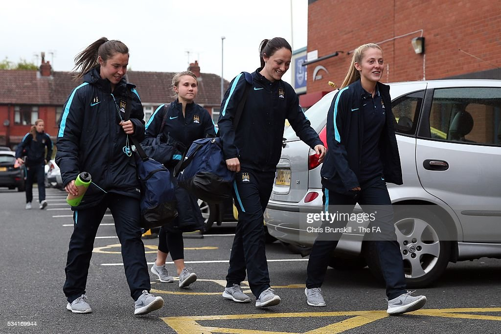 Manchester City Women players arrive ahead of the FA WSL match between Liverpool Ladies FC and Manchester City Women at the Halton Stadium on May 25, 2016 in Widnes, England.