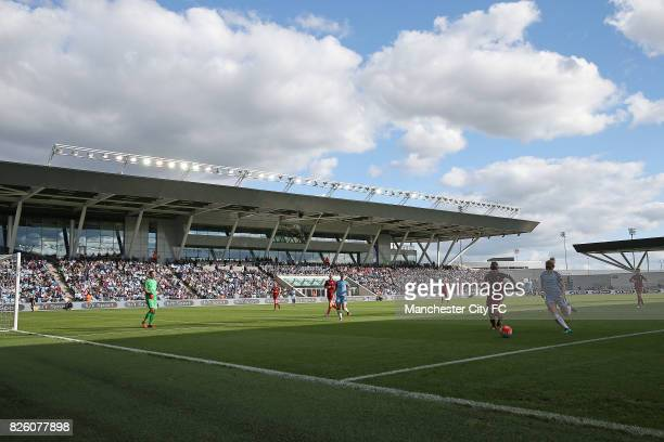 Manchester City Women's and Birmingham City Ladies' match is played in view of a packed stadium