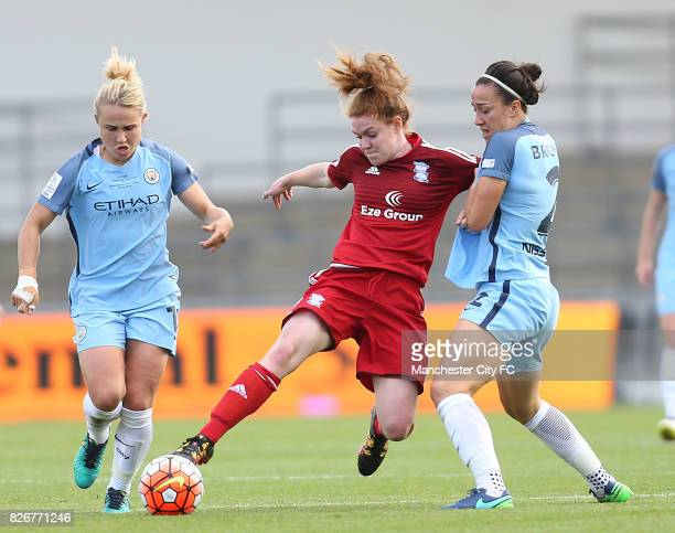 Manchester City Women's Lucy Bronze Isobel Christiansen and Birmingham City Ladies' Aoife Mannion