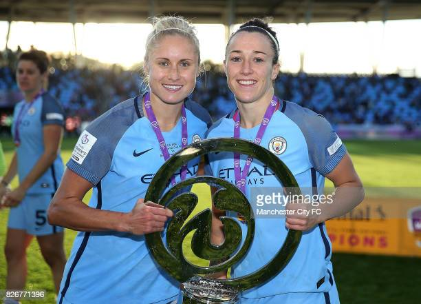 Manchester City Women's players Lucy Bronze and captain Steph Houghton celebrate winning the FA WSL Continental Tyres Cup Final against Birmingham...