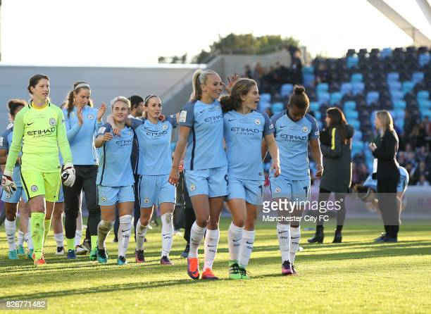 Manchester City Women's players prepare to celebrate winning the FA WSL Continental Tyres Cup Final against Birmingham City Ladies