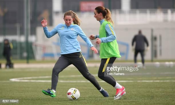 Manchester City's Abi McManis and Kosovare Asllani in training