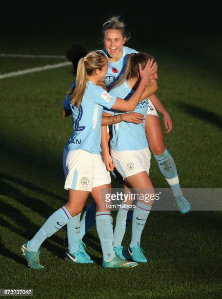 Manchester City's Abi McManus celebrates scoring during the FA WSL match between Manchester City Women and Bristol City Women at The Academy Stadium...