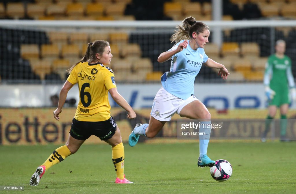 Manchester City's Abi McManus in action during the UEFA Women's Champions League match between LSK Kvinner and Manchester City Ladies at Arasen Stadion on November 9, 2017 in Lillestrom, Norway.
