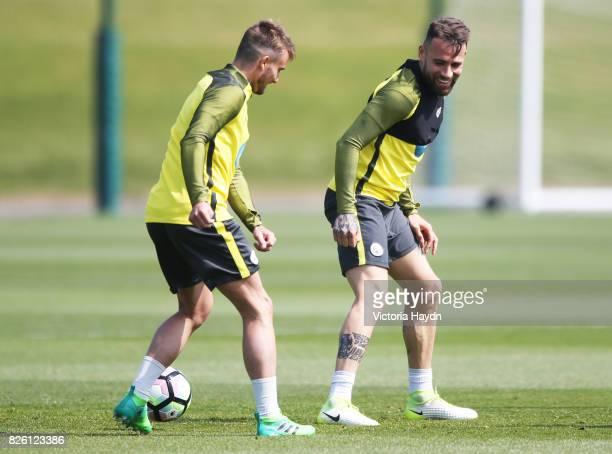Manchester City's Aleix Garcia and Nicholas Otamendi during training
