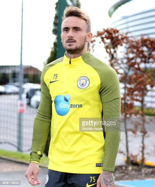 Manchester City's Aleix Garcia walking to training
