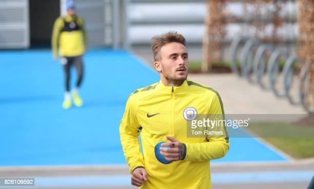 Manchester City's Aleix Garcia walks to training