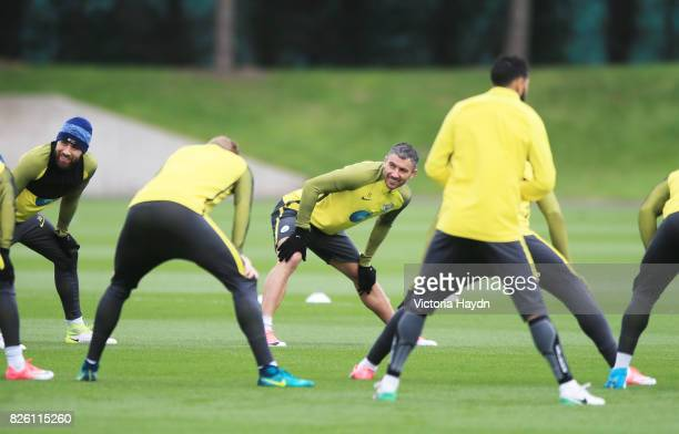 Manchester City's Aleksandar Kolarov and Manchester City's Nicolas Otamendi during training