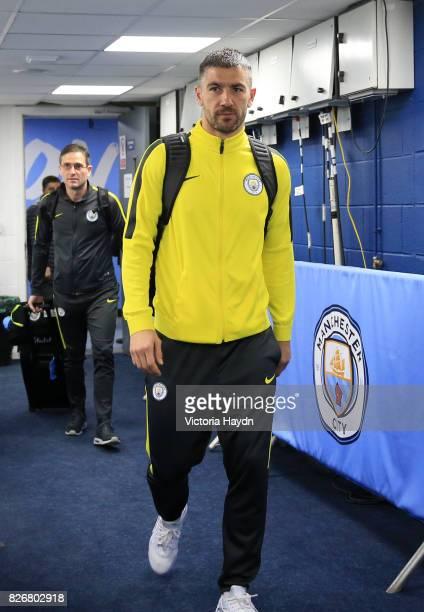 Manchester City's Aleksandar Kolarov arrives ahead of kick off